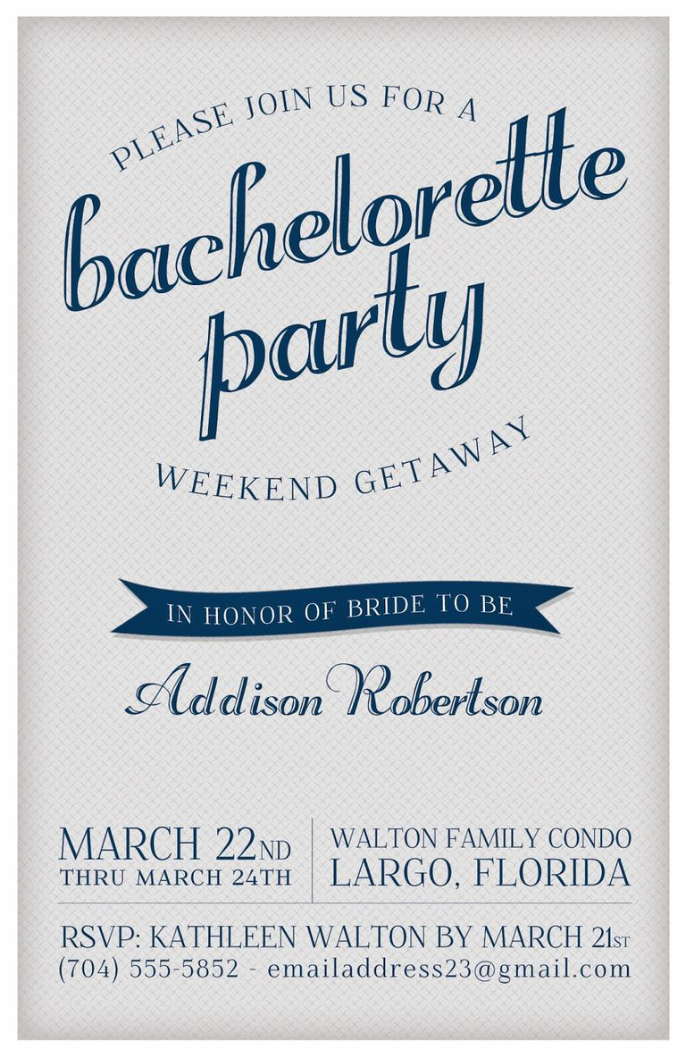 A Blue And Gray Bachelorette Party Invitation