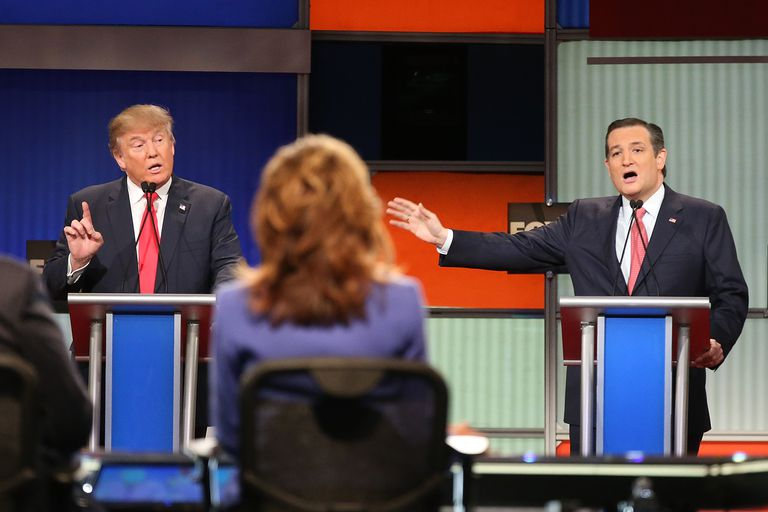 Donald Trump and Ted Cruz debating during the 2016 presidential election campaign