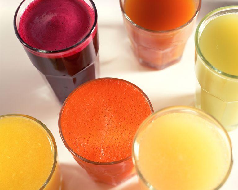 assortment of gluten-free fruit juices