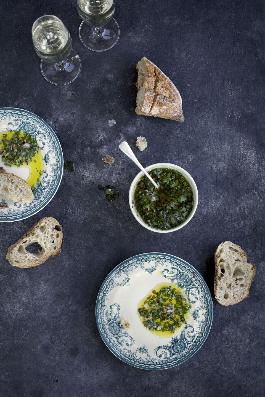 Italian Salsa Verde with bread