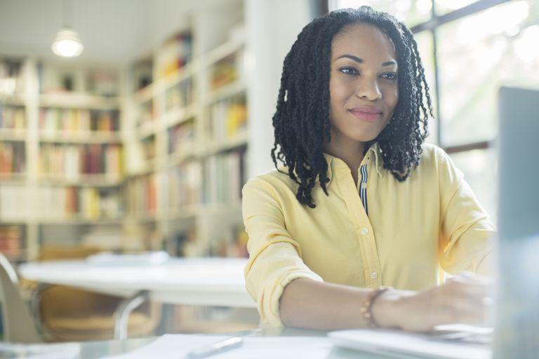 Businesswoman working at laptop