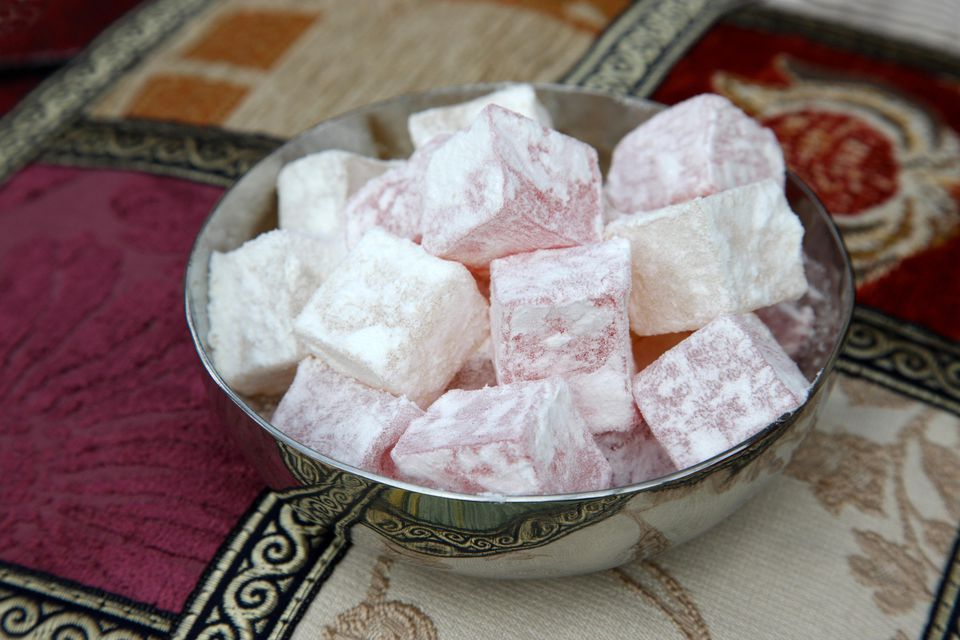 Traditional lemon and rose Turkish delight