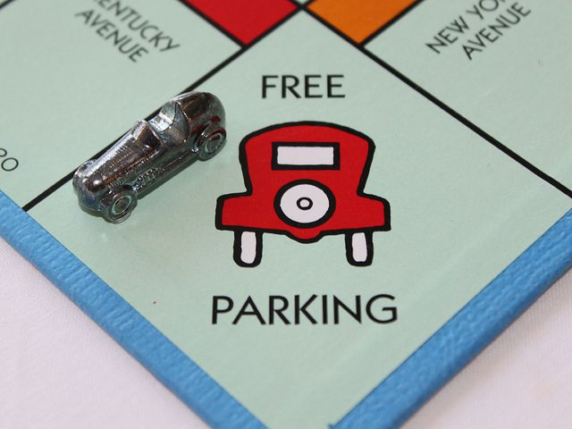 The Monopoly board corner with the free parking space