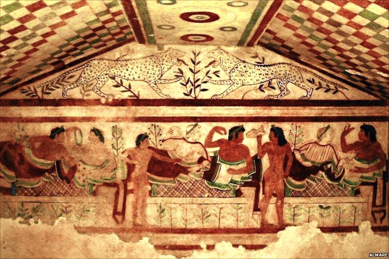 Famous painted Tomb of the Leopards in in Tarquinia, Italy