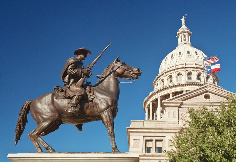 Terrys Texas Rangers monument and State Capitol.