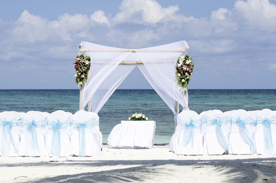 A wedding beach gazebo in a tropical location waiting for the bride and groom to arrive.