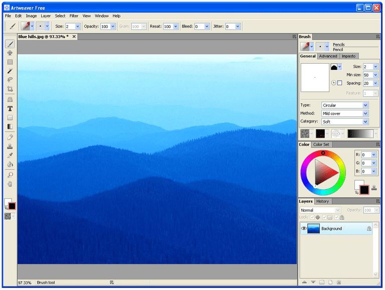 Screenshot of Artweaver Free in Windows XP