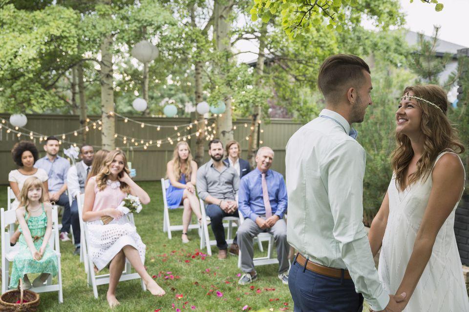 bride and groom at backyard wedding