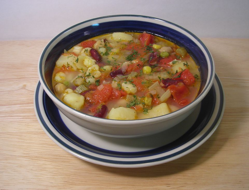 Vegetarian and vegan posole with hominy