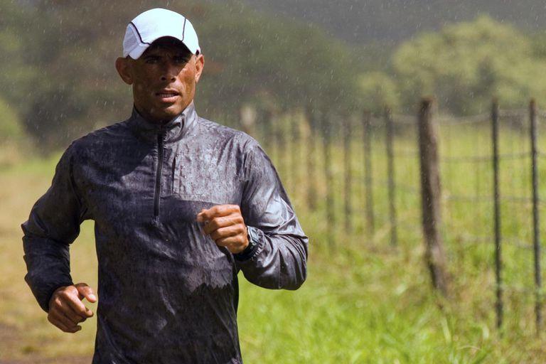 Man jogging in rain