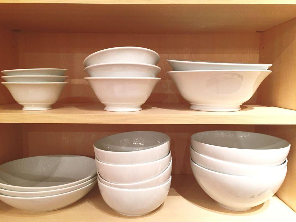 Dinnerware in cabinet