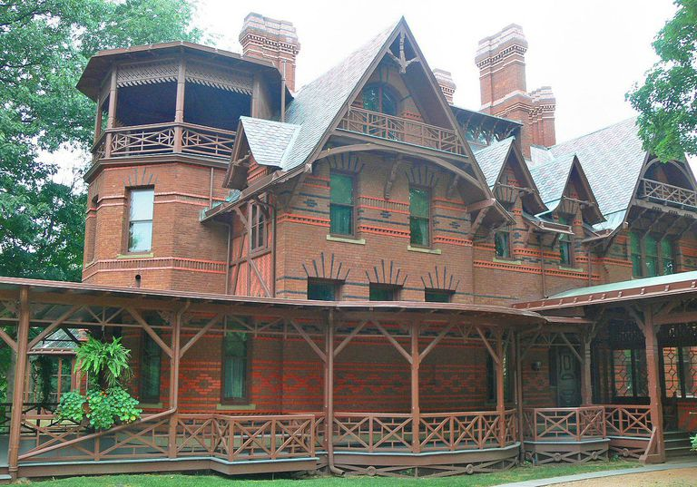 The Mark Twain House is elaborately decorated with patterned brick and ornamental stickwork