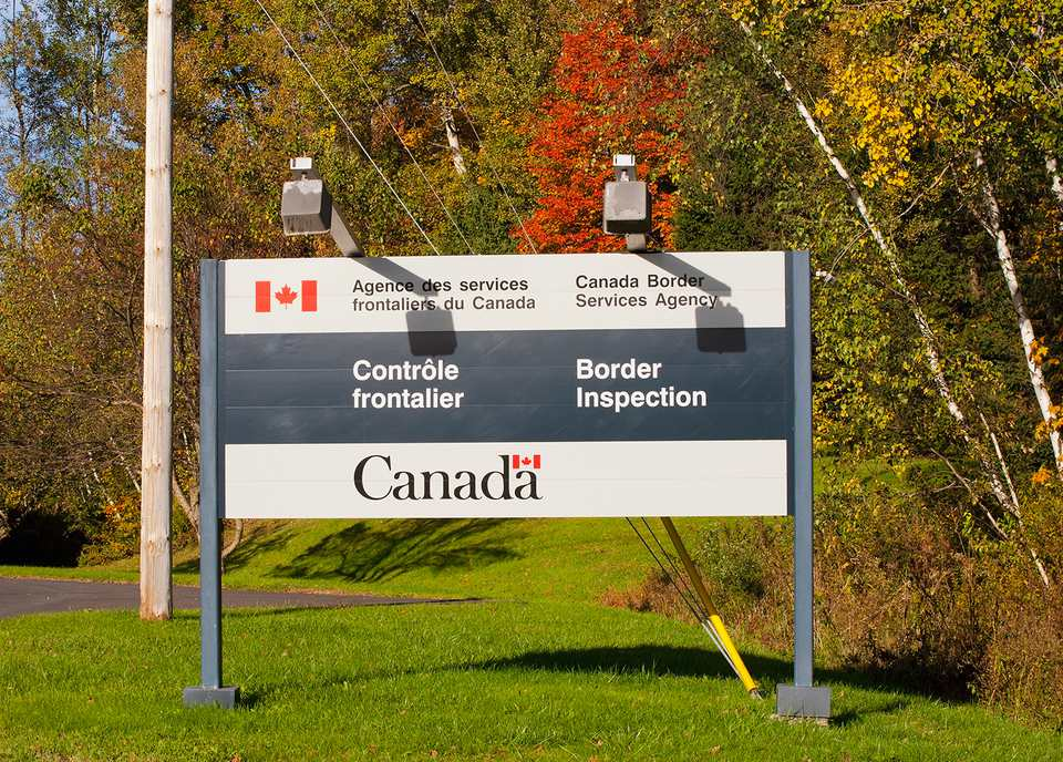 Border Crossing Sign; Abercorn Quebec Canada.