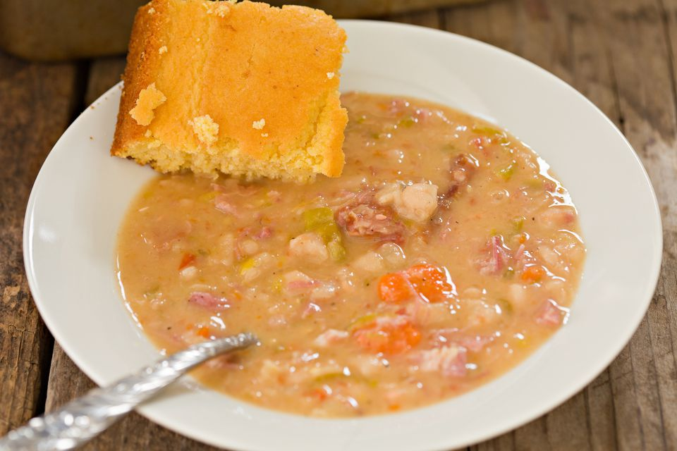 Navy Bean Soup And Corn Bread