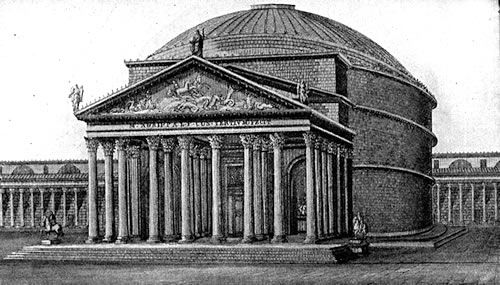 Illustration of the Pantheon in Rome, During the Roman Empire