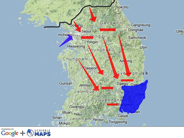 Pusan Perimeter And Invasion Of Incheon Map - 38th Parallel Us Map