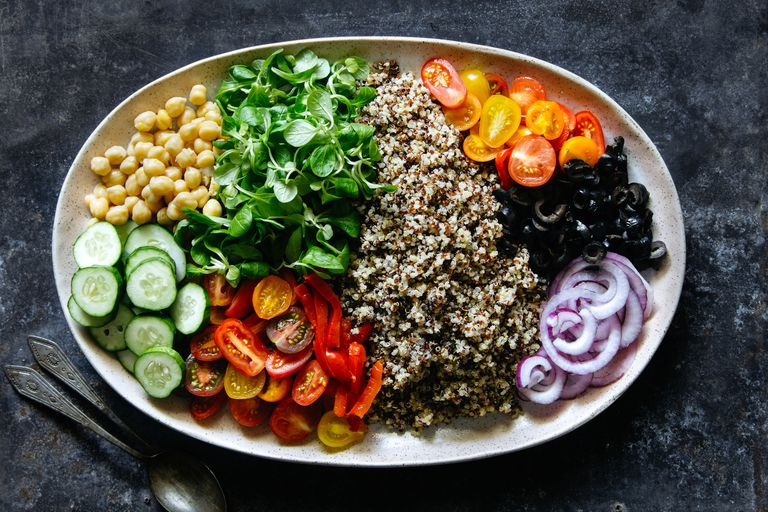 Plate of vegetables and quinoa