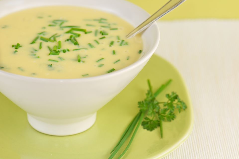 White Bowl of Avgolemono Soup