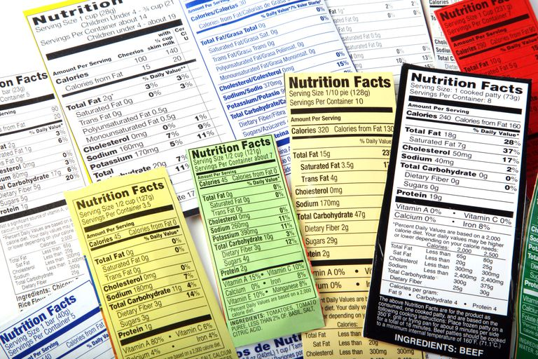 Several nutrition labels