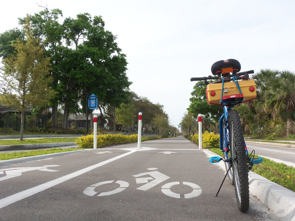A bike is parked at the side of the Pinellas Trail in Tampa Bay, Florida