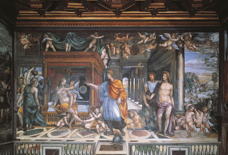 Marriage of Alexander and Roxanne, 1517, fresco by Giovanni Antonio Bazzi known as Il Sodoma (1477-1549), Agostino Chigi's wedding chamber, Villa Farnesina, Rome, Italy, 16th century