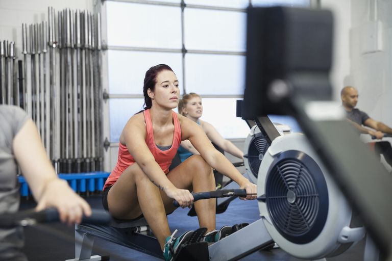 Woman using a rowing machine