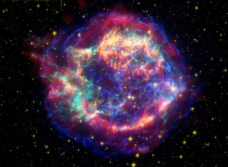 When a supernova like this one (Cassiopeia A) explodes, it returns hydrogen and helium to the universe, plus heavier elements, such as carbon, oxygen, and silicon.
