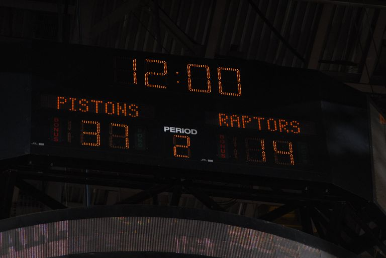 NBA Basketball scoreboard, Pistons 37, Raptors 14 in the second period with 12:00 left.