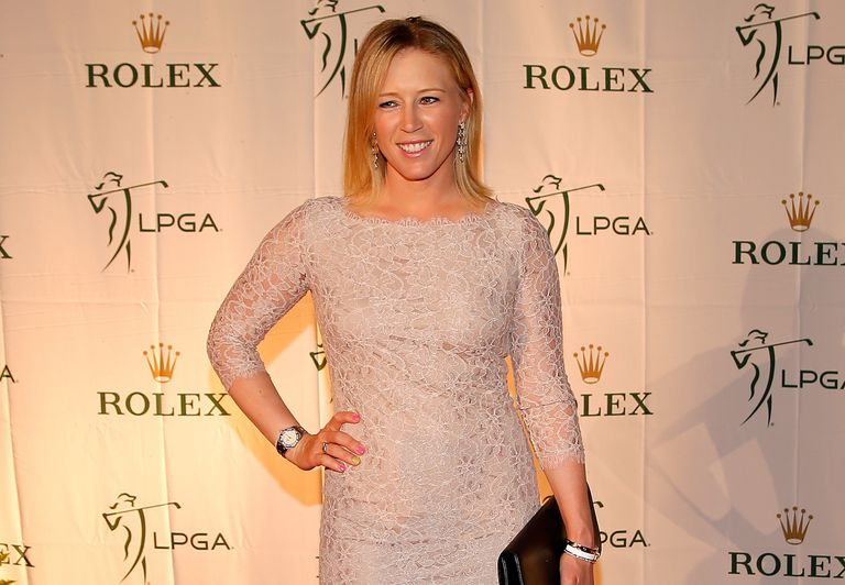 Morgan Pressel poses on the red carpet during the LPGA Rolex Awards reception at Tiburon Golf Club on November 22, 2013
