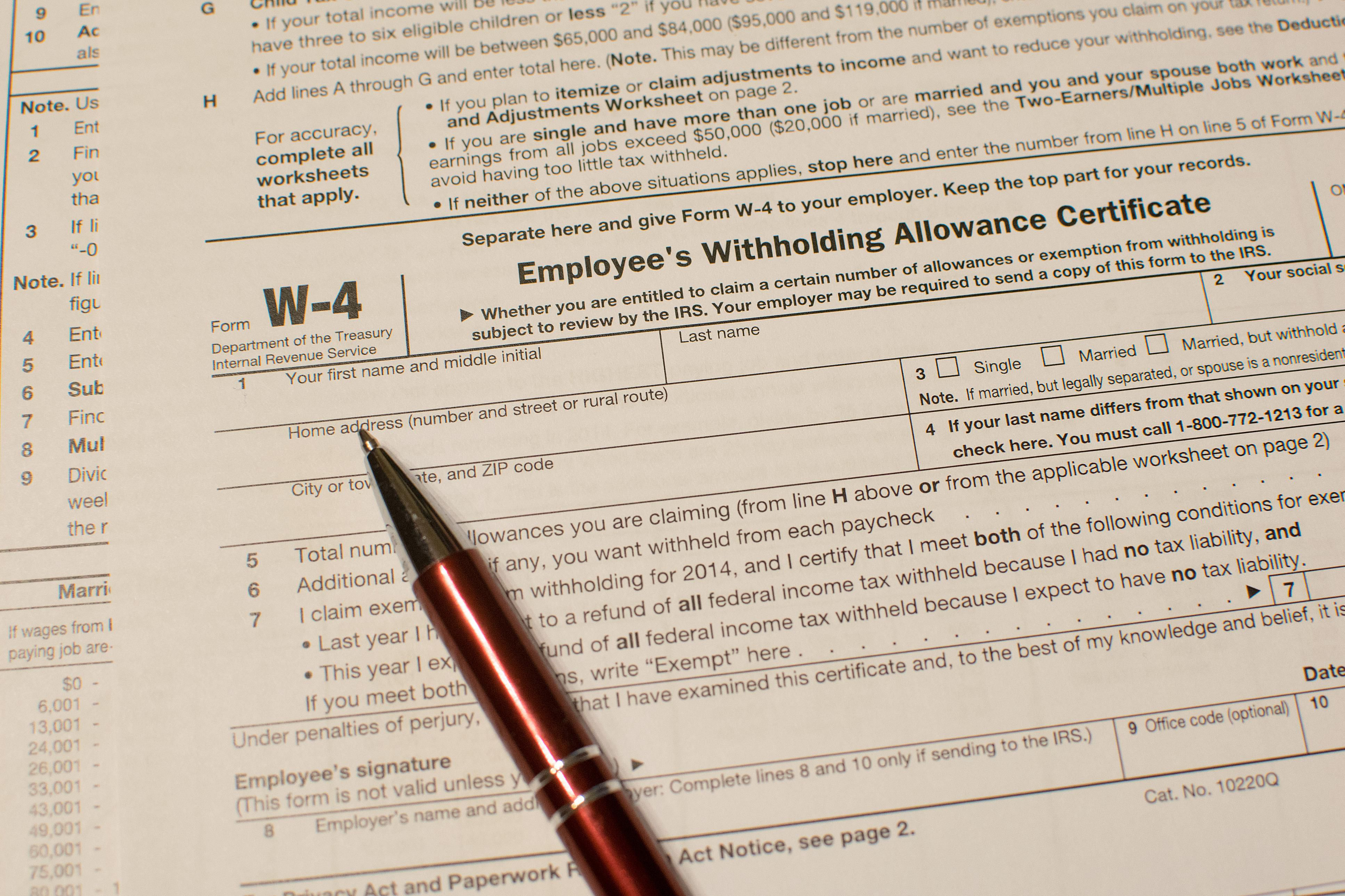 Form w 4 information for employers falaconquin
