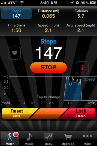 A screenshot of the Pedometer FREE app on an iPhone