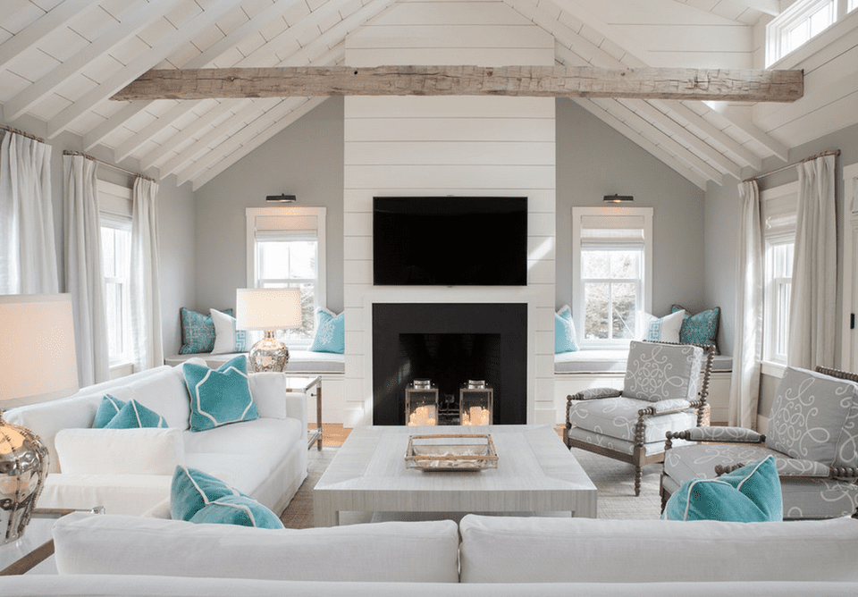 Gray beach house living room 20 Beautiful Beach House Living Room Ideas