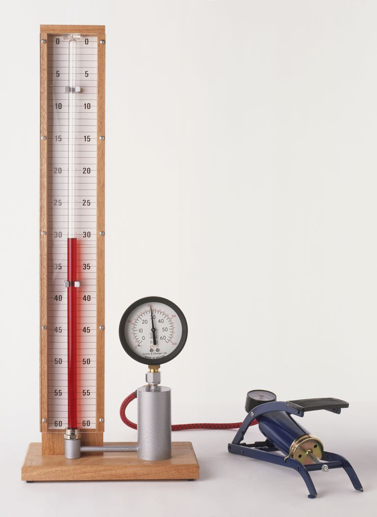 Apparatus to measure pressure with foot pump showing Boyle's Law, the volume of mass of gas at a fixed temperature will change in relation to the pressure.