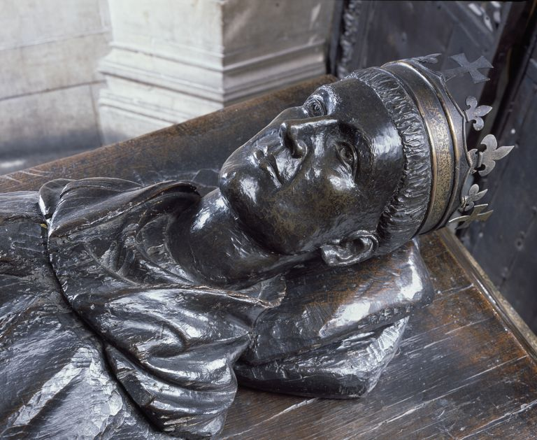 Detail of Wooden Tomb Effigy of Henry V in Westminster Abbey