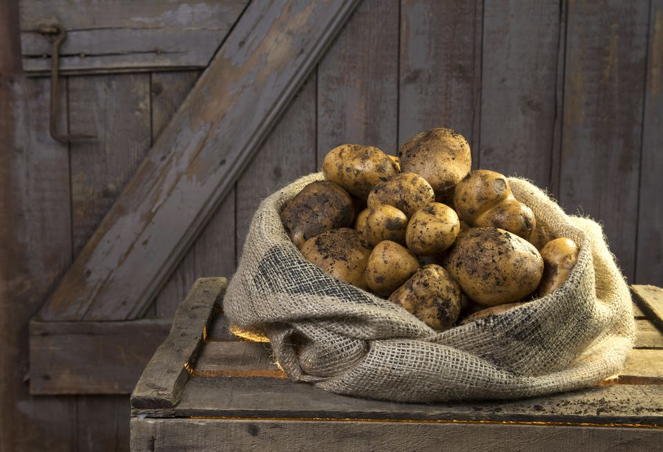 Germany, Potatoes in sack on wood