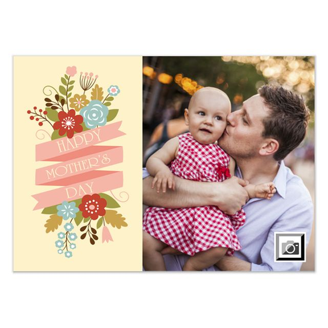 A photo Mother's Day ecard with colorful flowers.