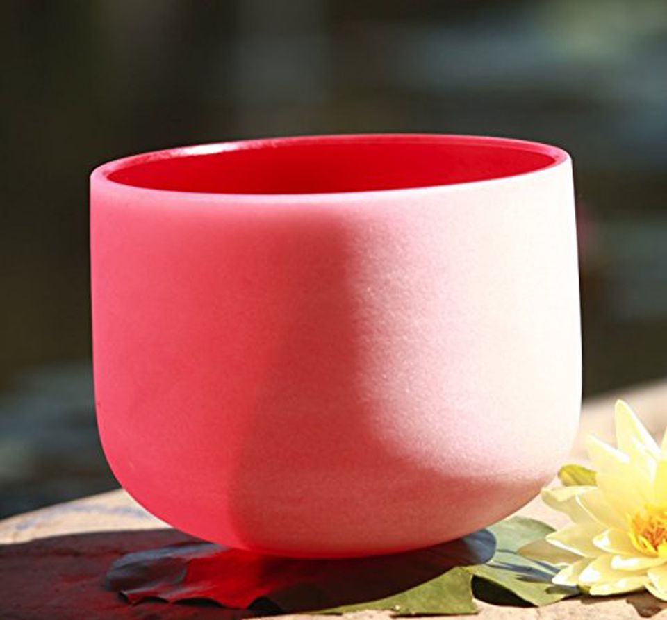 """CVNC Red Color C Note Root Chakra Frosted Quartz Crystal Singing Bowl 12"""" + Free mallet & O-ring"""