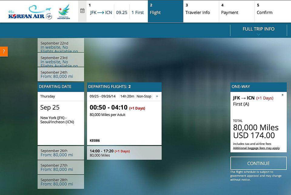 Korean Air Booking Site