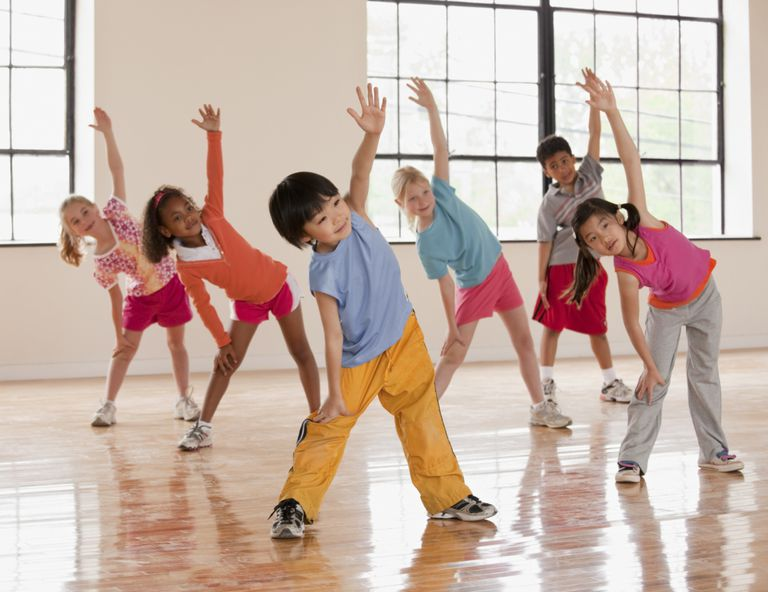 Dynamic stretches for kids - group of children