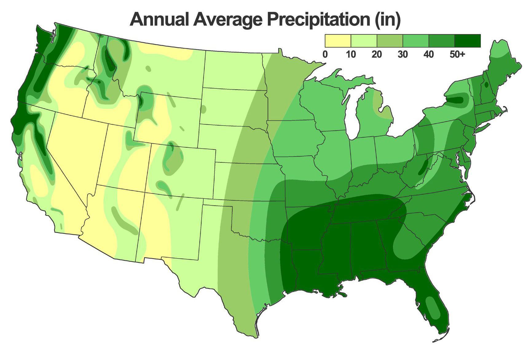 Map Of The Wettest Places In The USA - Precipitation map of us