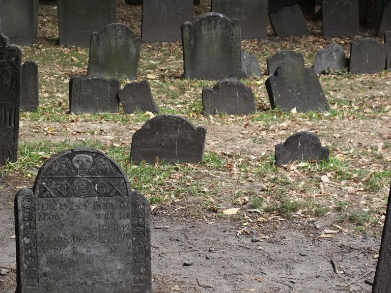 Gravestones in an old Massachusetts cemetery, with iconography studied by Deetz and Dethlefsen