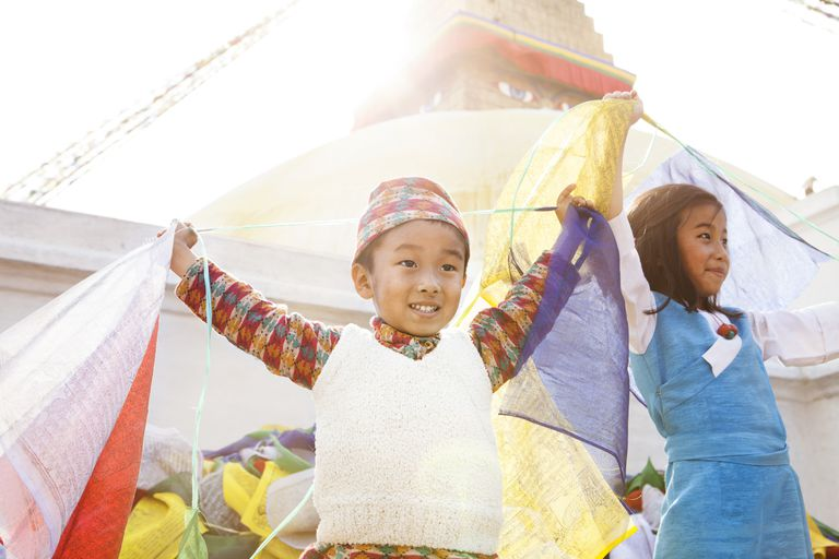 Children and Prayer Flags