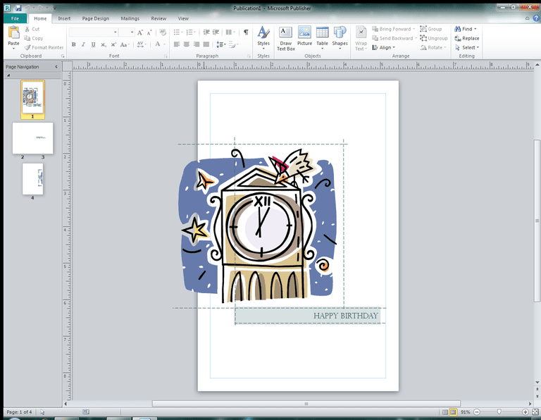 Creating a greeting card in Microsoft Publisher.