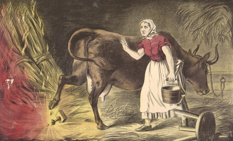 Lithograph depicting Mrs. O'Leary and her cow, of Chicago Fire fame.
