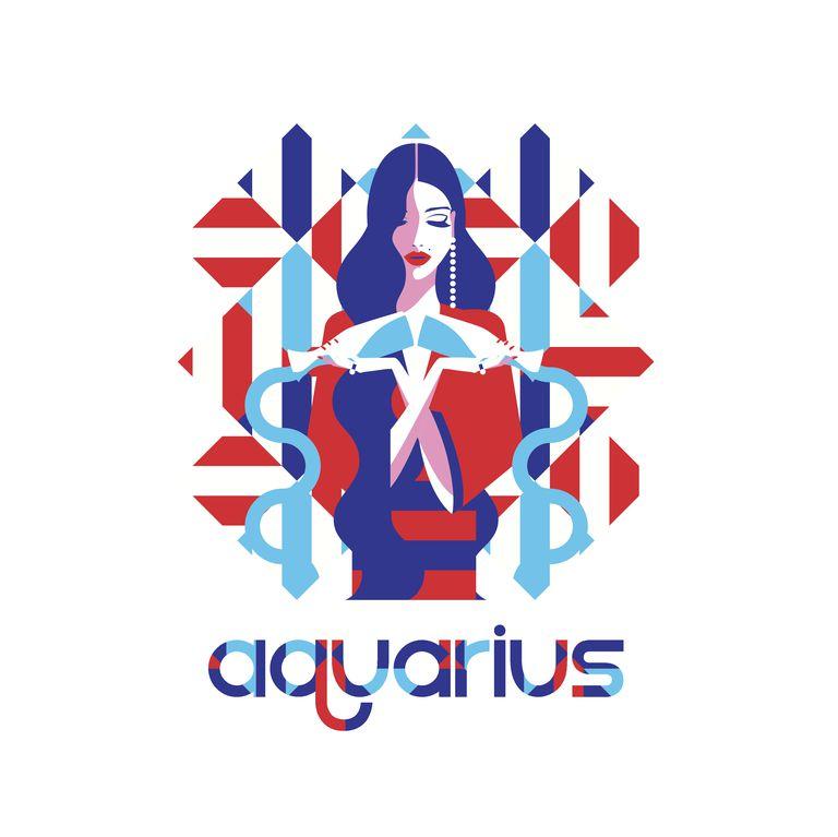 Fashion model in geometric pattern as aquarius zodiac sign