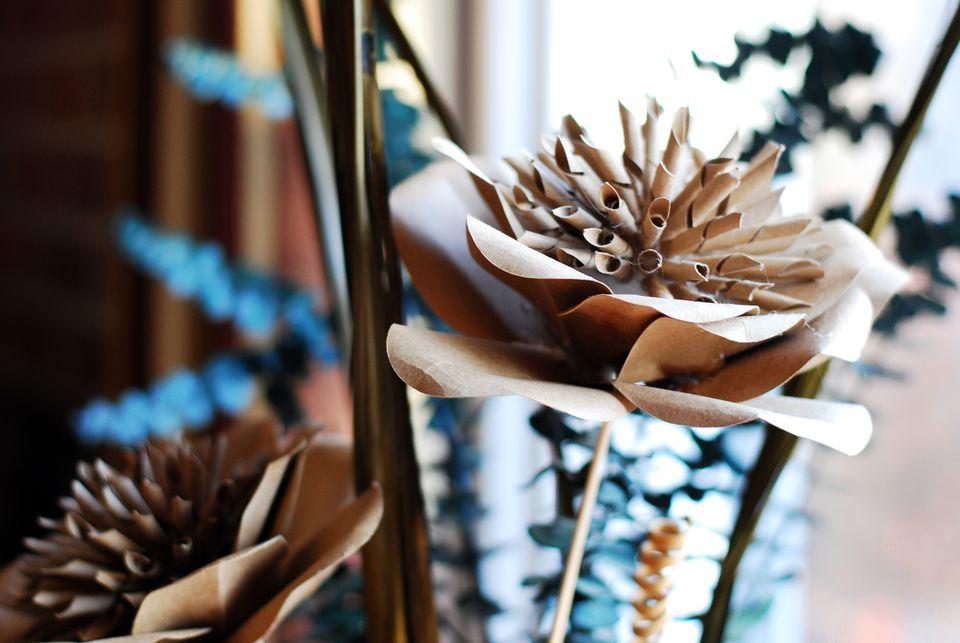 spiral kraft paper flower craft