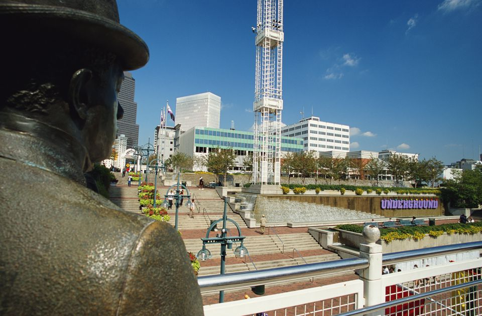 USA, Georgia, Atlanta, Underground shopping area, statue in foreground