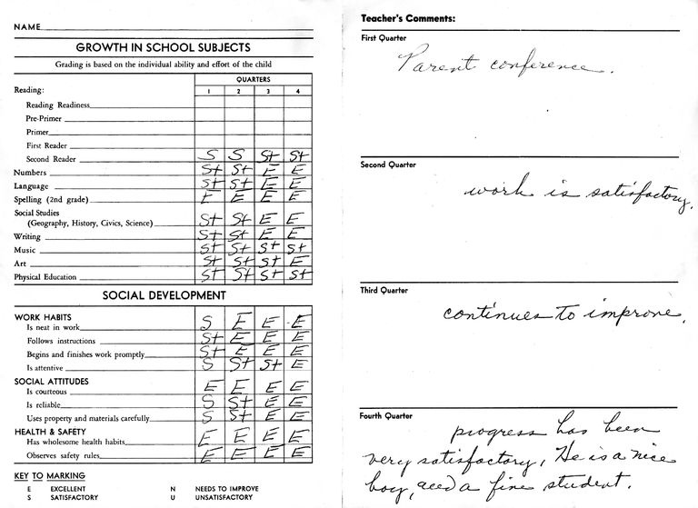 school transcript report card