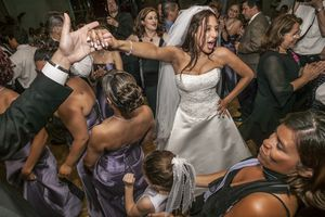 Dancing at a wedding reception.