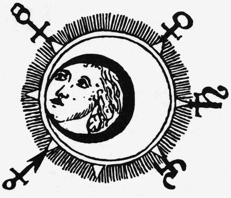 Alchemical Illustration Of Man In Moon